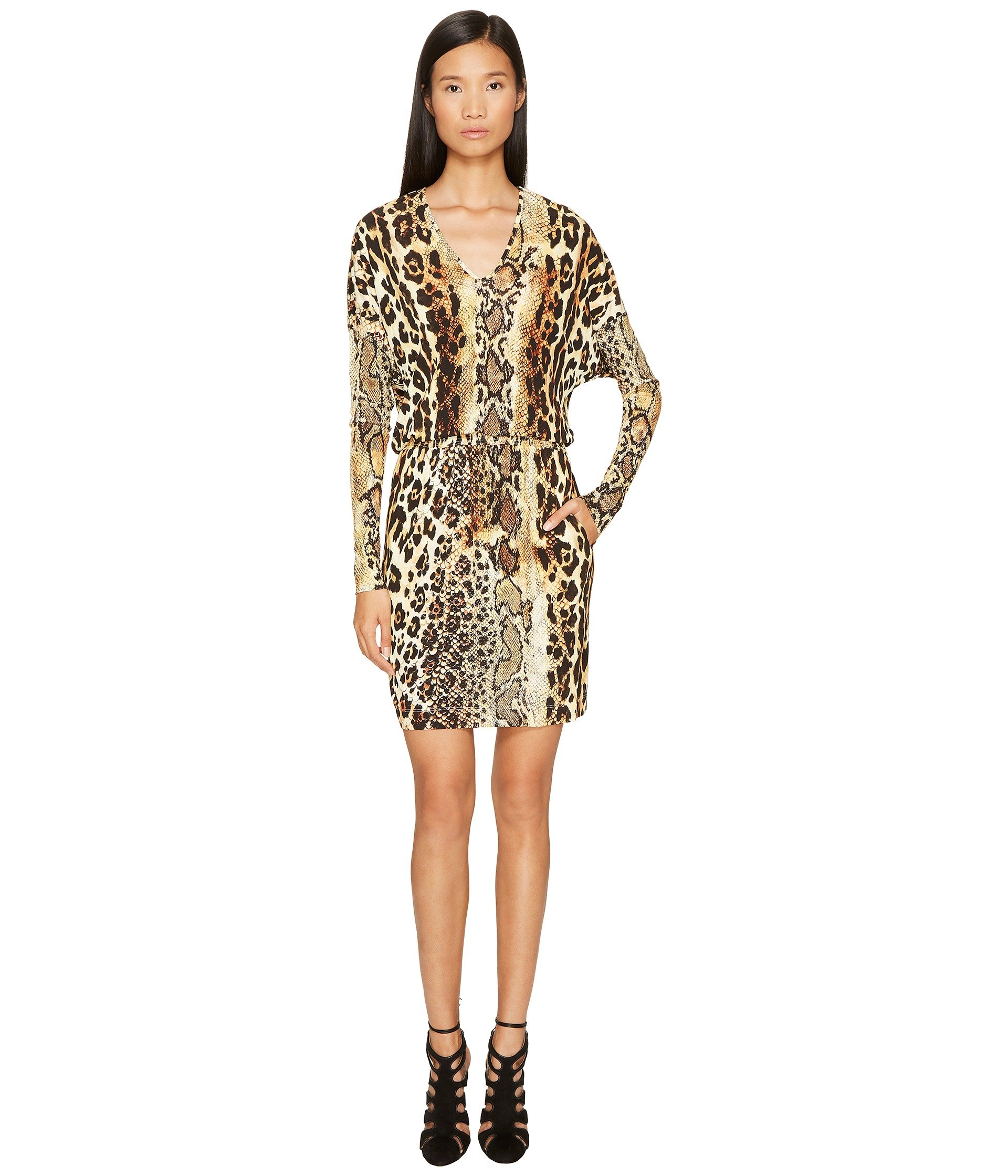LONG SLEEVE V-NECK MIXED ANIMAL PRINT JERSEY DRESS