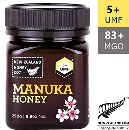 New Zealand Honey Co. Raw Manuka Honey UMF 5+ (MGO 83+) | 250g | From the Remote Wild South Island Region | Non GMO, No Antibiotics, No Additives, Quality Guaranteed
