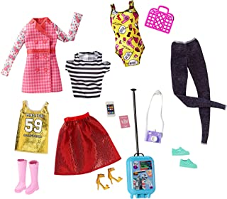 Mattel Barbie Pink Passport Travel Fashions FLB31