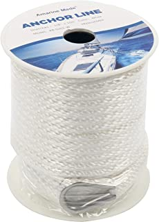 Amarine Made 3/8 Inch 100FT Premium Solid Braid MFP Anchor Line Braided Nylon Anchor Rope/Line with Thimble (3/8