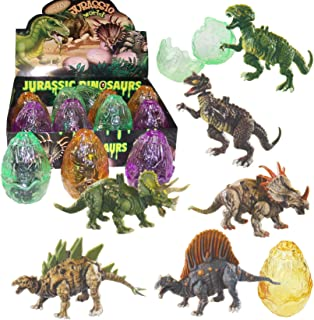 Liberty Imports 12 Pack Deluxe 3D Action Figures Realistic Figurine Puzzles in Jurassic Hatching Eggs - Ideal Kids Toy Party Favors Bulk Supplies (Dinosaurs)