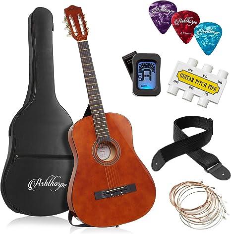 Ashthorpe 38-inch Beginner Acoustic Guitar Package (Brown), Basic Starter Kit w/Gig Bag, Strings, Strap, Tuner, Pitch Pipe, Picks