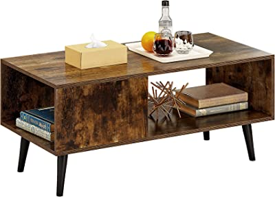 HOMEFORT Retro Coffee Table, Mid-Century Cocktail Table with Storage Shelf, Rectangular Narrow Office Table, Vintage Sofa Table,TV Stand for Living Room, Guest Room, Reception (Rustic Brown)