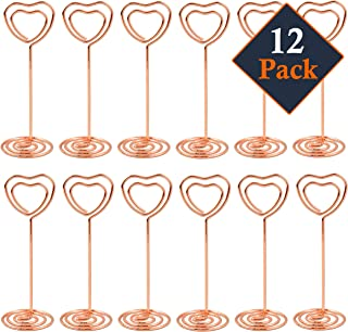 J&A Homes 12 Pack Place Card Holders Table Number Holders – Mini Wire Photo Stand for Wedding Favors – Memo Picture Holder Paper Menu Clips – Heart Shaped (Rose Gold)
