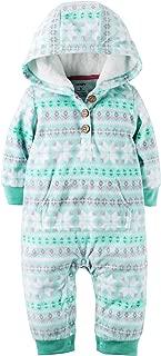Baby Girls' 1 Piece Fleece Hood Jumpsuit (12m, Flakes)