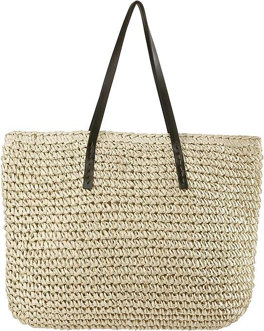 Chic diary, borsa in paglia da donna, da spalla, estiva, per la spesa, la spiaggia, i viaggi e lo shopping, panna (Avorio) - QQDE1144