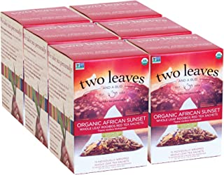Two Leaves and a Bud Organic African Sunset Rooibos Herbal Tea Bags, 15 Count (Pack of 6) Organic Whole Leaf Herbal Tea in Pyramid Sachet Bags, Delicious Hot or Iced with Milk, Sugar or Honey or Plain