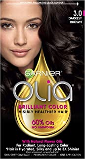 Garnier Olia Ammonia Free Permanent Hair Color, 100 Percent Gray Coverage (Packaging May Vary), 3.0 Darkest Brown Hair Dye, Pack of 1