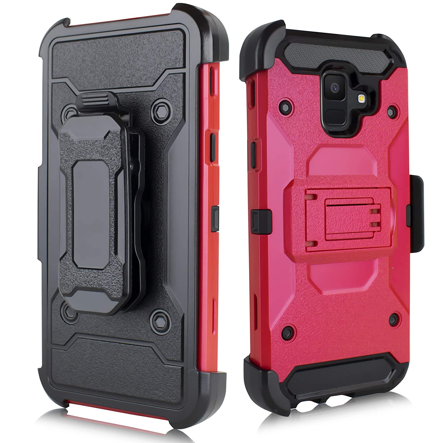Compatible Samsung Galaxy A6 2018, Holster Case Protection Carrying Belt Clip Drop Proof Shockproof Dustproof Samsung Galaxy A6 SM-A600A 2018 (Red)