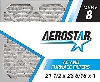 Aerostar 21 1/2x23 5/16x1 MERV 8, Pleated Air Filter, 21 1/2 x 23 5/16 x 1, Box of 6, Made in The USA