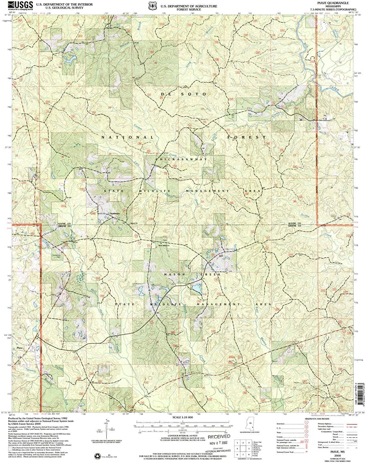 Piave MS topo map, 1 24000 Scale, 7.5 X 7.5 Minute, Historical, 2000, Updated 2002, 26.8 x 21.9 in