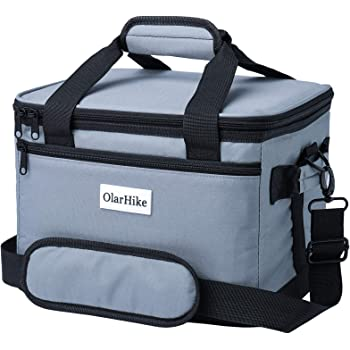 OlarHike 40/24 Can Cooler Bag Lunch Bag, Collapsible and Insulated Lunch Box Leakproof Cooler Bag for Camping, Picnic, BBQ (24-Can, Grey)