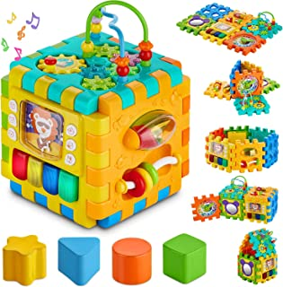 Baby Activity Cube Toddler Toys - 6 in 1 Shape Sorter Toys Kids Activity Play Cube Center for Infants Early Development Educational Toys for 1 2 Years Old Boys & Girls
