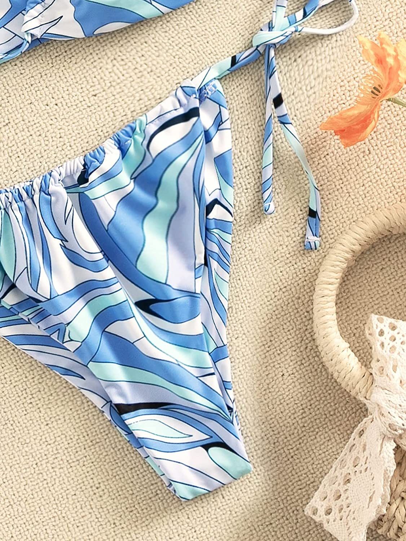 SOLY HUX Women's Printed Criss Cross Halter Bikini Bathing Suit 2 Piece Swimsuits Blue M