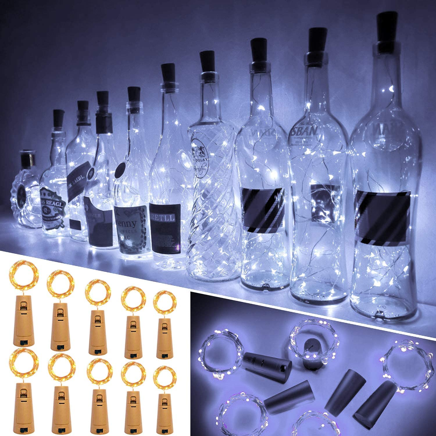 Animer and price revision Ariceleo Wine Bottle Lights with Cork Pack Led 20 Pre-Inst Dealing full price reduction 60 10