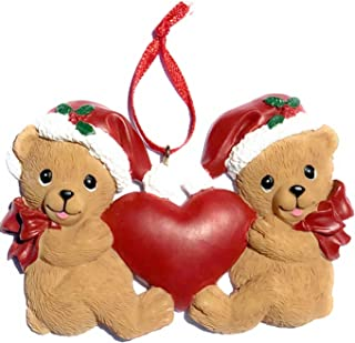 Two Cute Brown Bears with Heart and Santa Hats Christmas Ornament, for Siblings, Couple Christmas Ornament, Two Children C...