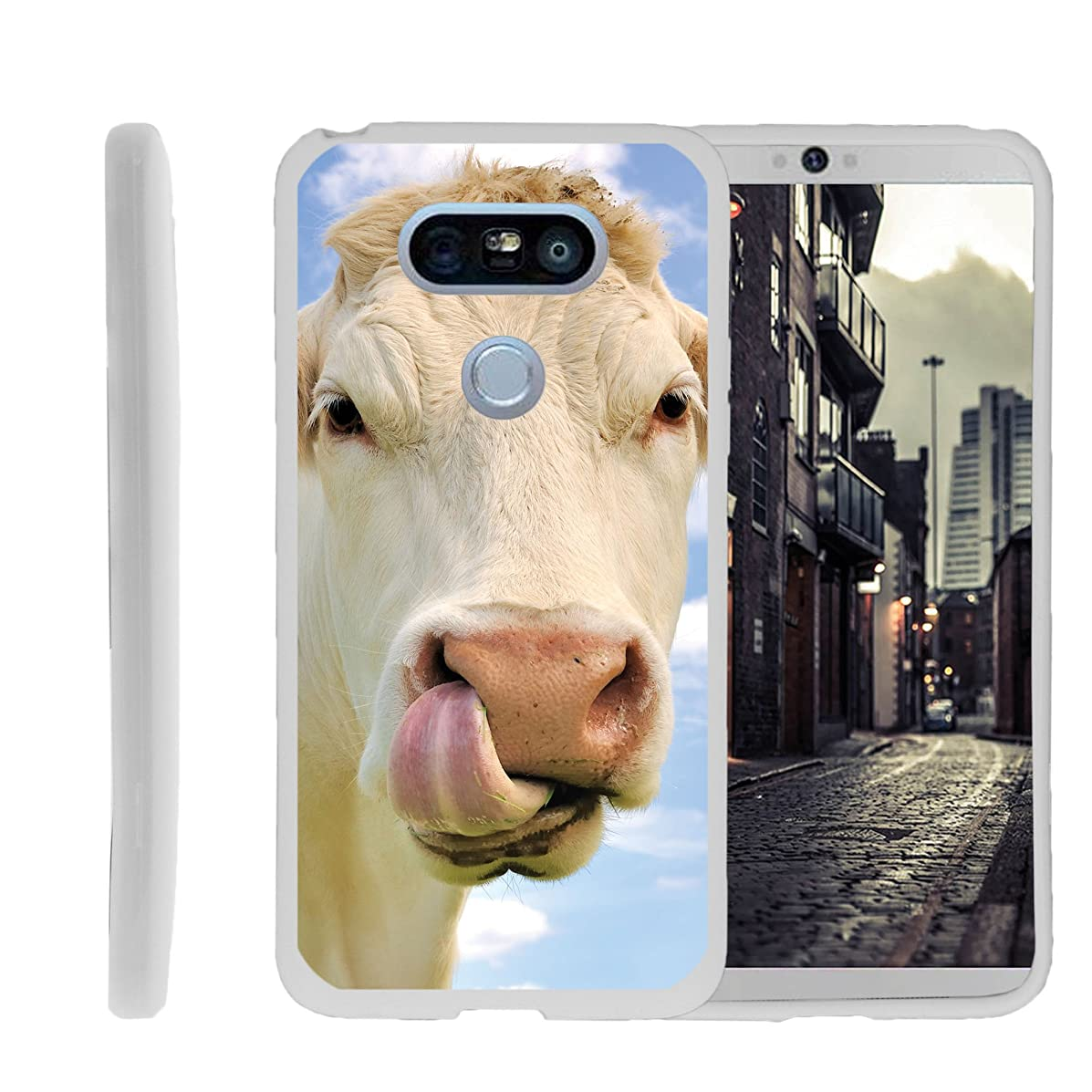 MINITURTLE Compatible with LG G5 TPU Slim Fitted Shock Light Cute Animal Cow Licking Nose