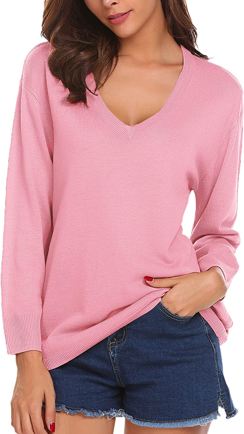 UNibelle Womens V Neck Sweaters Loose Oversized Light Weight Knit Sexy Pullover Top Sweatershirt