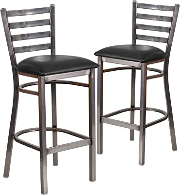Flash Furniture 2 Pk. HERCULES Series Clear Coated Ladder Back Metal Restaurant Barstool - Black Vinyl Seat