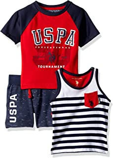 U.S. Polo Assn. Boys 3 Piece Short Sleeve T-Shirt, Tank Top, and Short Shorts Set - Blue