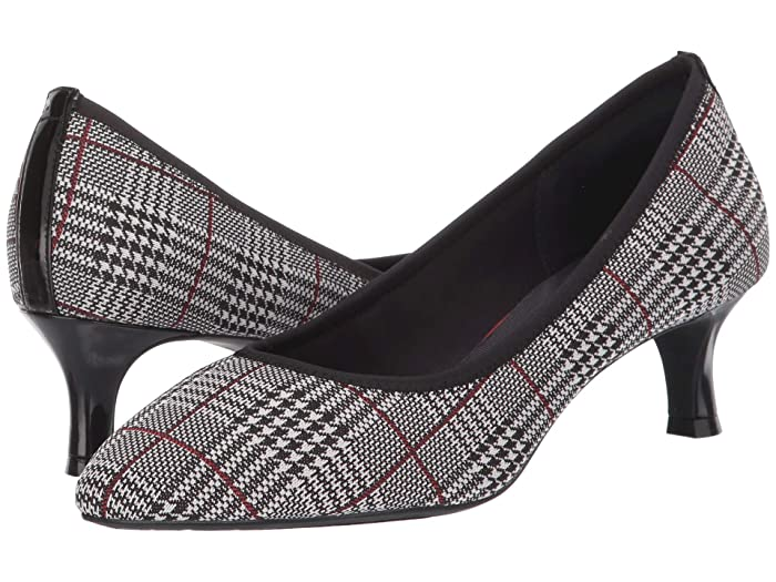 Rockabilly Shoes- Heels, Pumps, Boots, Flats Rockport Total Motion Kaiya Pump Plaid Elastic Womens Shoes $109.95 AT vintagedancer.com