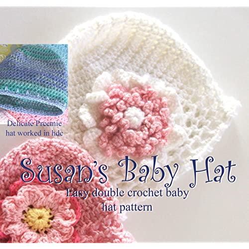 1c03fad4d03 Amazon.com  Susan s Simple Baby Hat and Flowers in Preemie and ...