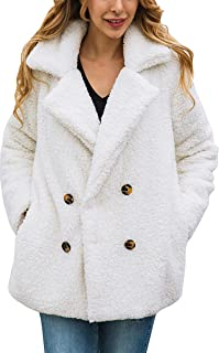 ECOWISH Womens Double Breasted Lapel Open Front Fleece Coat with Pockets Outwear