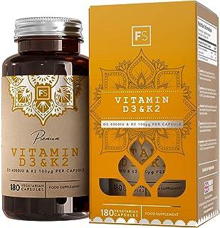FS Vitamina D3 4000iu y Vitamina K2 100μg Capsulas | 180 Tabletas Veganas