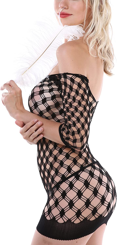 Carsla Big neckline see-through diamond bag hip skirt