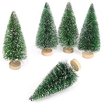 Goldenlight 10Pcs Miniature Christmas Trees Mini Pine Tree Tiny Sisal Trees with Snow and Wood Base for Christmas Snow Globe Decoration Crafts (Green, 10Pcs - Height 4.5cm)