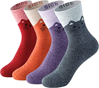 LifeWheel Womens Vintage Winter Soft Warm Thick Cold Weather Knit Wool Casual Cozy Crew Terry Socks 5 Pairs