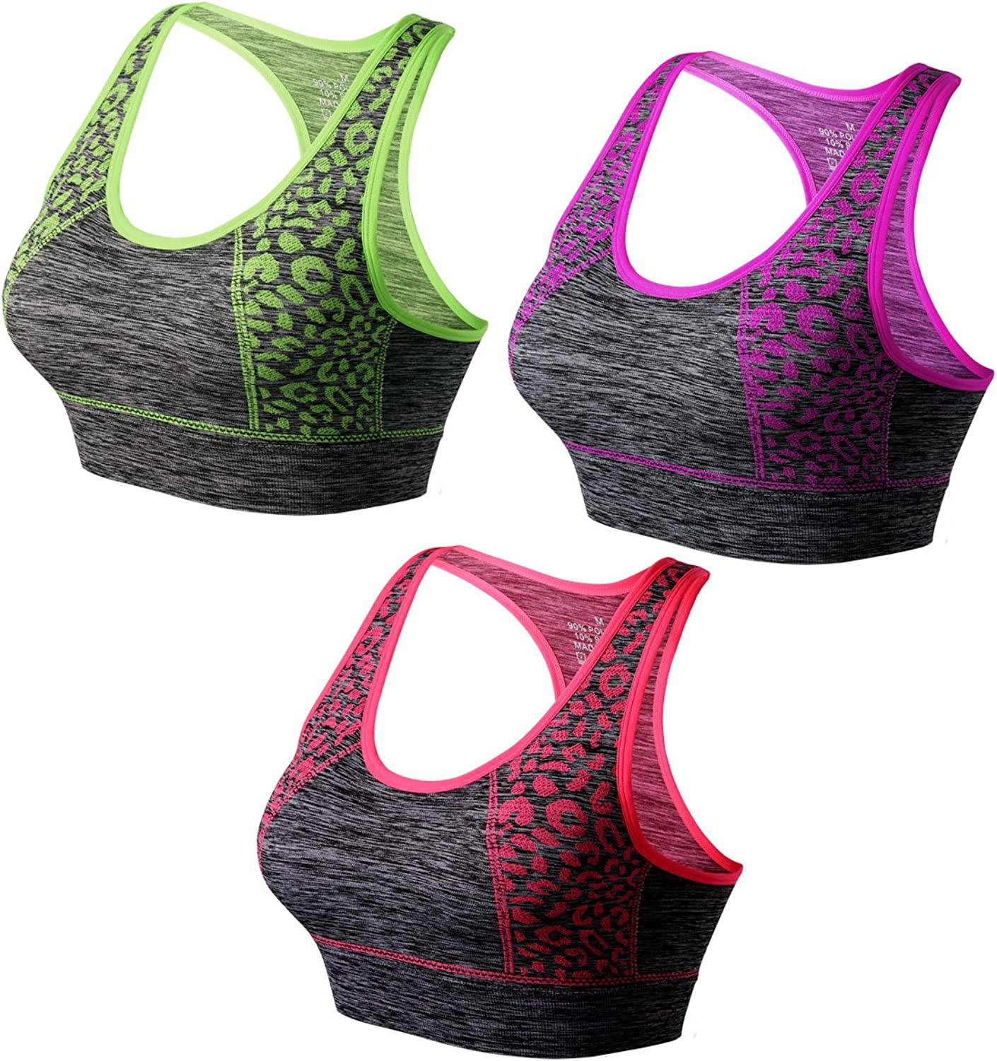Match Women's Wirefree Padded Racerback Sports Bra for Yoga Workout Gym Activewear  007