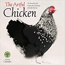 The Artful Chicken 2020 Wall Calendar: Brush & Ink Watercolor Paintings