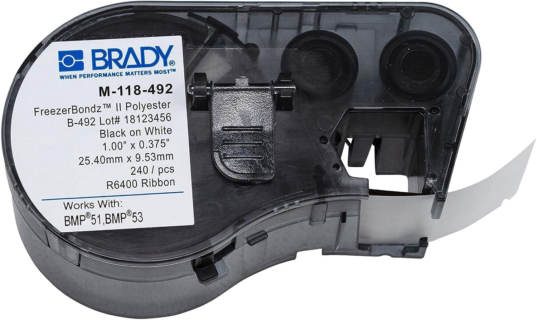 Brady M-118-492 Polyester overseas B-492 Black Label High order White Maker Cartr on