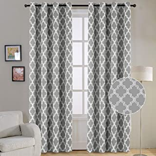 Flamingo P Triple Weave Soft Moroccan Tile Quatrefoil Unlined Thermal Insulated Grommet Blackout Window Curtain Panels, Pair/Set of 2 Panels, 52x96 inches Each-Gray