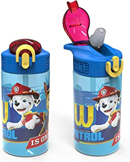 Zak Designs Kids Durable Plastic Spout Cover and Built-in Carrying Loop, Leak-Proof Water Design for Travel, (16oz, 2pc Se...