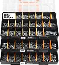 """HongWay 1,650 Piece Deluxe Hardware Fastener Assortment Kit with 64 Size in Detachable""""No Mix"""" Case, Bolt, Nuts & Washer A..."""