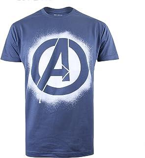 Marvel Stencil Logo Camiseta de Manga Corta para Hombre