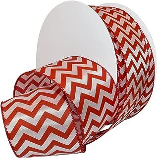 Morex Ribbon Wired Peppermint Chevron Polyester Ribbon, 2-1/2