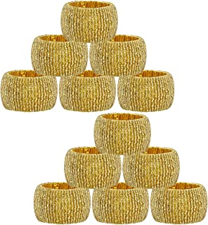 COTTON CRAFT - 12 Pack Beaded Napkin Ring Set - Gold - Hand Made by Skilled artisans - A Beautiful complement to Your Dinner Table décor