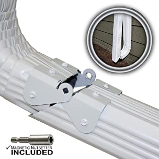 Zip Hinge Plus 1 Pack | 1-6 Packs of Gutter Extension Hinges w/Clasp + Magnetic Nutsetter | DIY Installation on Any Size Rectangle or Square Downspout