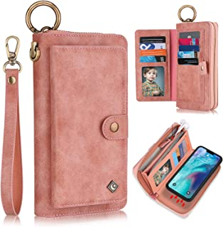 XRPow Wallet Case Compatible with iPhone 12/12 Pro, [2 in 1] [Magnetic Detachable] Zipper Wallet Folio Case [Wrist Strap] Slim Shock Back Cover with Credit Card Purse (6.1Inch) - Rose Gold