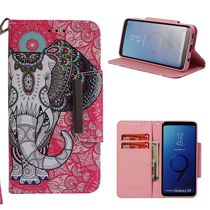 Galaxy S9 Case, ZERMU Painted Pattern Premium PU Leather Magnetic Flip Folio Wallet Purse Case with Kickstand Card Holder ID Slot and Hand Strap Shockproof Protective Cover for Samsung Galaxy S9 2018