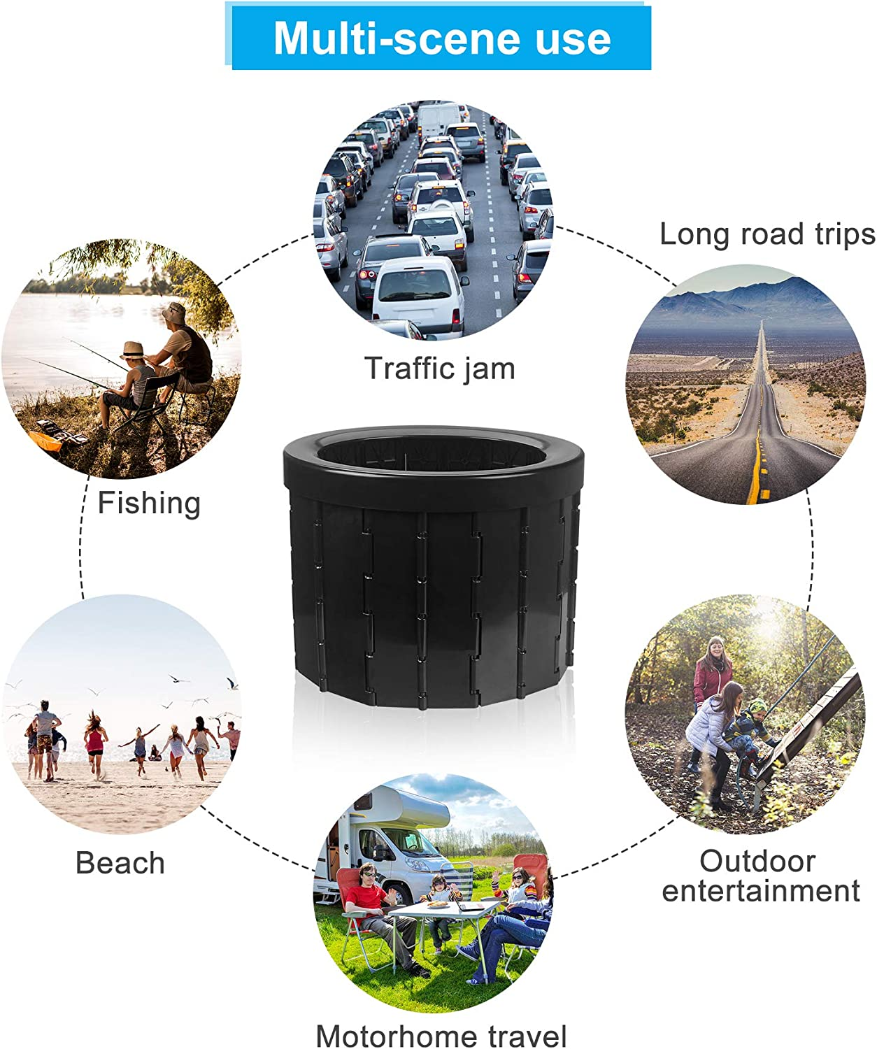 Trips Hiking Traffic Jam Outdoor Esthesia Portable Toilet Camping Toilet Folding ABS Plastic Car Travel Potty for Camp Boating