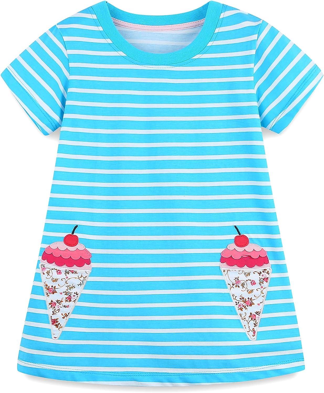 SHOOYING Girls Summer Dress, Short Sleeve/Sleeveless Cartoon Applique Playwear Dresses,(2T-7 Years)