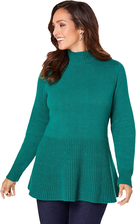 Jessica London Women's Plus Size Peplum Mockneck Pullover Sweater