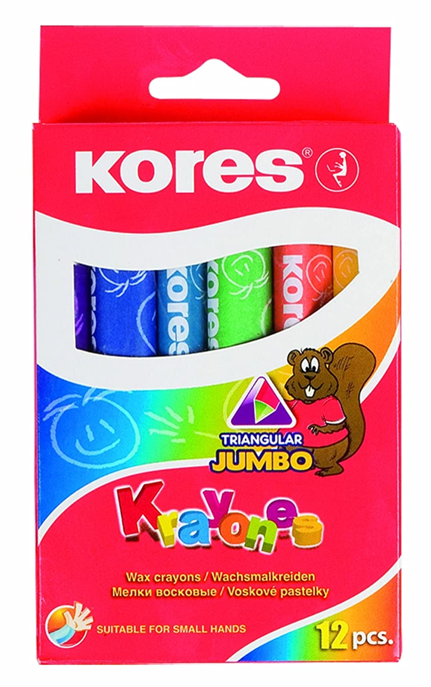 Kores Krayones Wax Crayons, Jumbo Size, Triangular, Box of 12 Assorted Colours