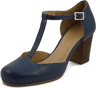 bb987a8186f4e0 OSVALDO PERICOLI, Scarpe Donna Decollete Aperte Charleston in Pelle Blu,  Tacco Medio 7 cm