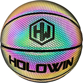 HOLOWIN Reflective Glowing Holographic Luminous Basket Ball for Night Game, Perfect HoloHoops Gifts Toys