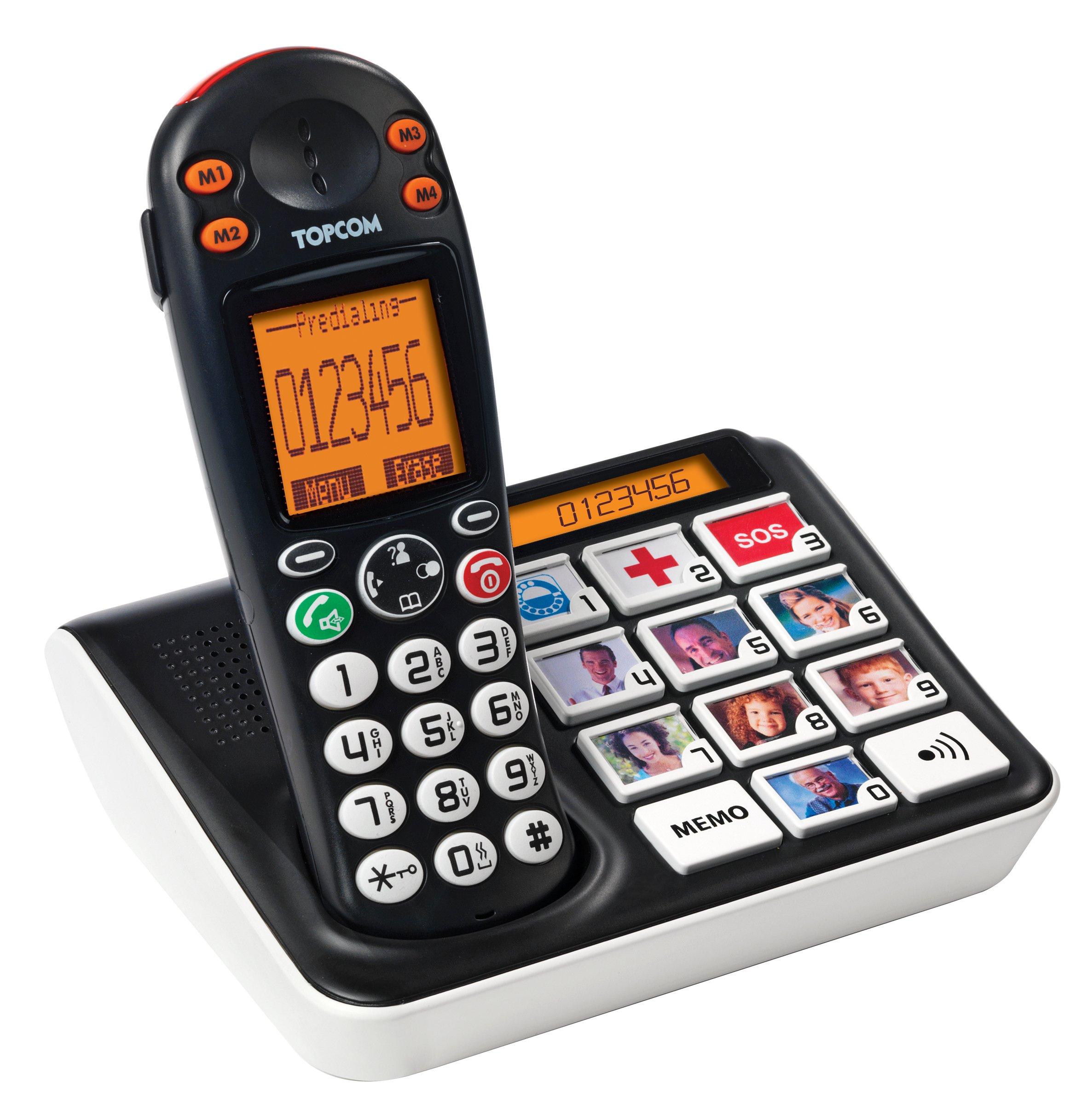 Topcom TS-5611 Teléfono de Teclas con fotos adecuado para personas con problemas de visión, compatible con audífonos, 4 números de memoria directa: Amazon.es: Electrónica